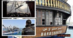 Panique à bord du Barberousse: grosse frayeur à bord du bateau corsaire qui s'est échoué au large des côtes tunisiennes