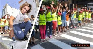 Vivo Energy initie l'aménagement de passages zébrés, suite à l'idée d'une petite écolière, pour sécuriser les écoles primaires